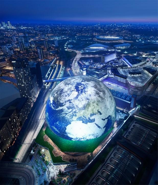 Aerial Earth Display - MSG Sphere - London